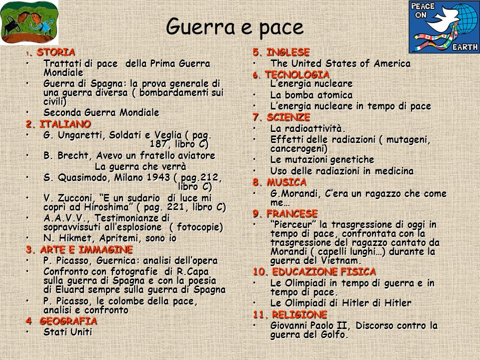 Guerra e pace 1. STORIA Trattati di pace della Prima Guerra MondialeTrattati di pace della Prima Guerra Mondiale Guerra di Spagna: la prova generale d
