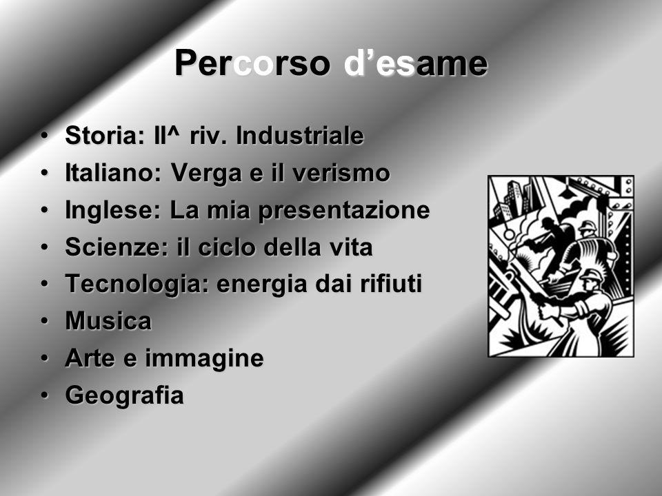 Percorso desame Storia: II^ riv. IndustrialeStoria: II^ riv. Industriale Italiano: Verga e il verismoItaliano: Verga e il verismo Inglese: La mia pres