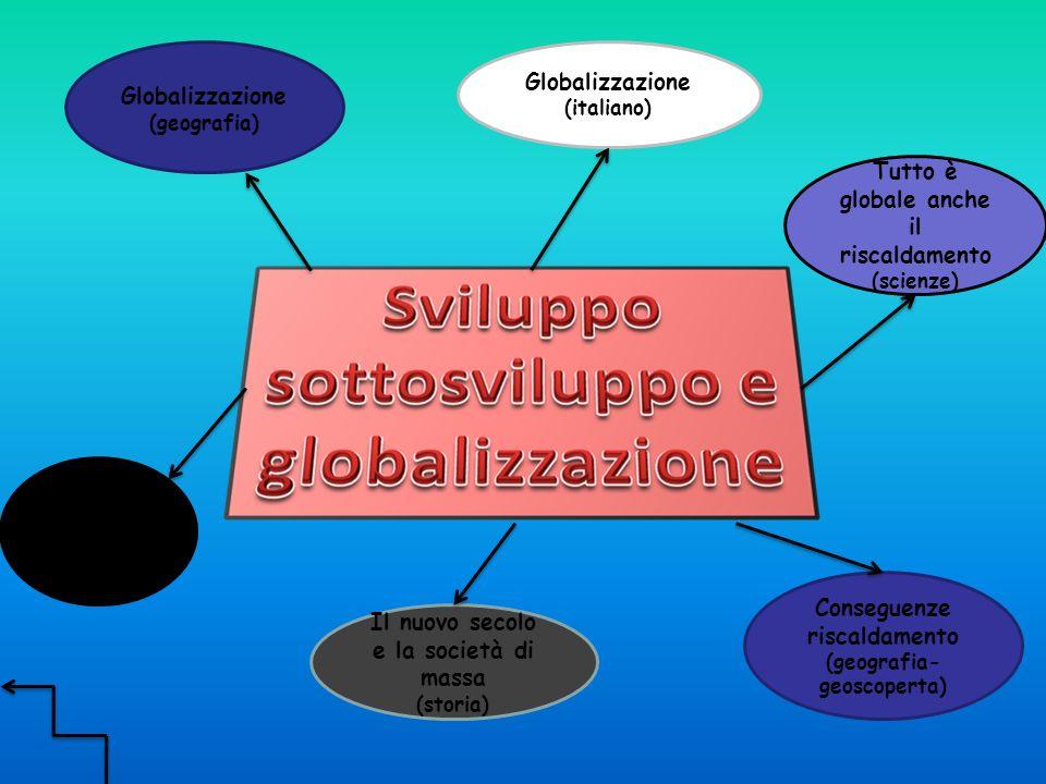 Globalizzazione (geografia) Globalizzazione (italiano) Africa (geografia) Tutto è globale anche il riscaldamento (scienze) Conseguenze riscaldamento (geografia- geoscoperta) Il nuovo secolo e la società di massa (storia)