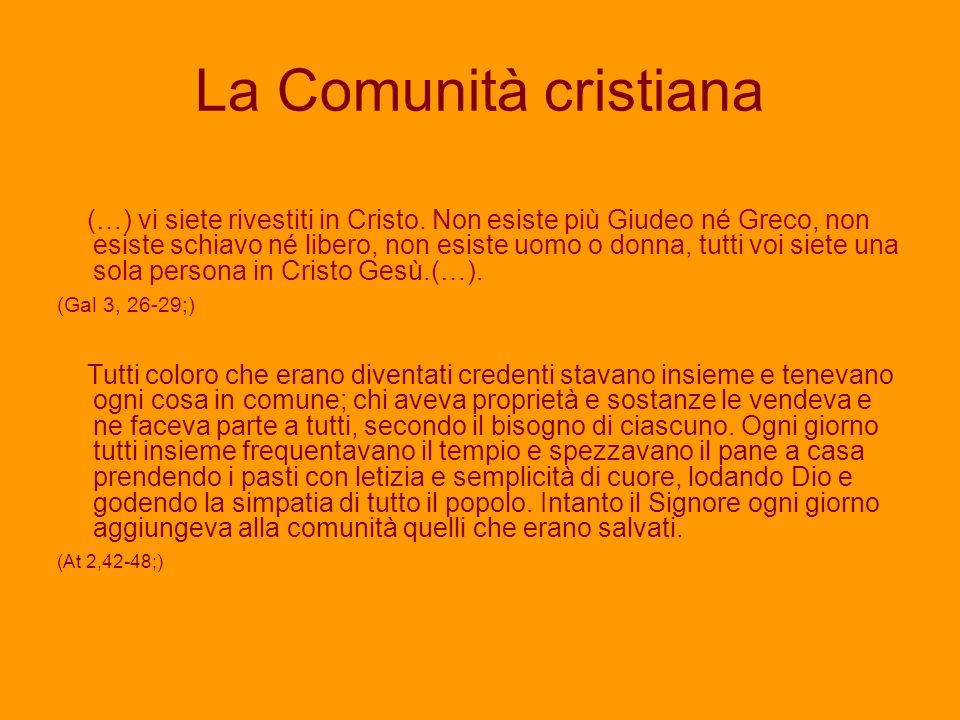 La Comunità cristiana (…) vi siete rivestiti in Cristo.