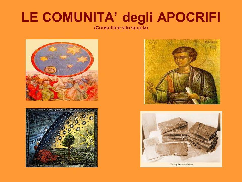 LE COMUNITA degli APOCRIFI (Consultare sito scuola)