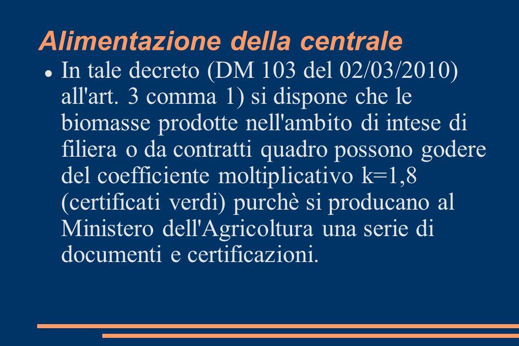 Alimentazione della centrale In tale decreto (DM 103 del 02/03/2010) all art.