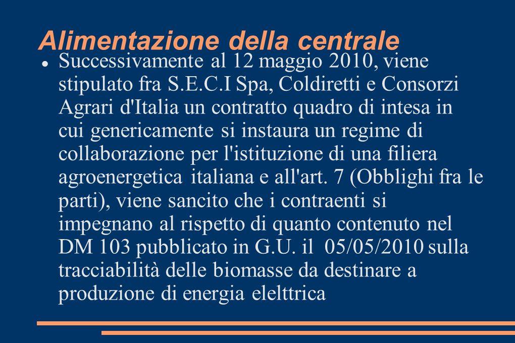 Alimentazione della centrale Successivamente al 12 maggio 2010, viene stipulato fra S.E.C.I Spa, Coldiretti e Consorzi Agrari d Italia un contratto quadro di intesa in cui genericamente si instaura un regime di collaborazione per l istituzione di una filiera agroenergetica italiana e all art.
