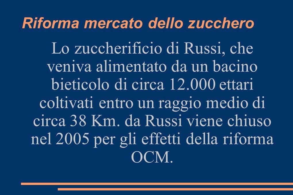 Riforma mercato dello zucchero Lo zuccherificio di Russi, che veniva alimentato da un bacino bieticolo di circa 12.000 ettari coltivati entro un raggio medio di circa 38 Km.