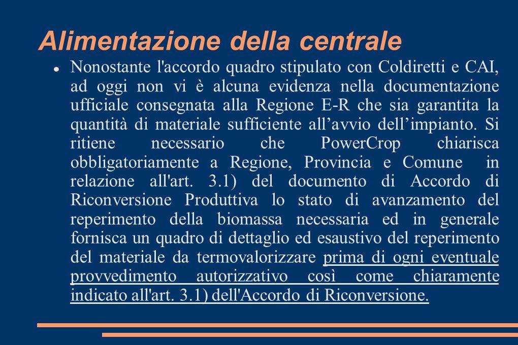 Alimentazione della centrale Nonostante l accordo quadro stipulato con Coldiretti e CAI, ad oggi non vi è alcuna evidenza nella documentazione ufficiale consegnata alla Regione E-R che sia garantita la quantità di materiale sufficiente allavvio dellimpianto.
