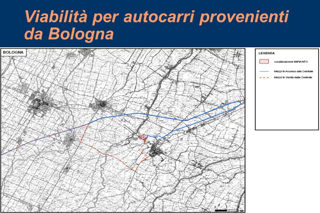 Viabilità per autocarri provenienti da Bologna