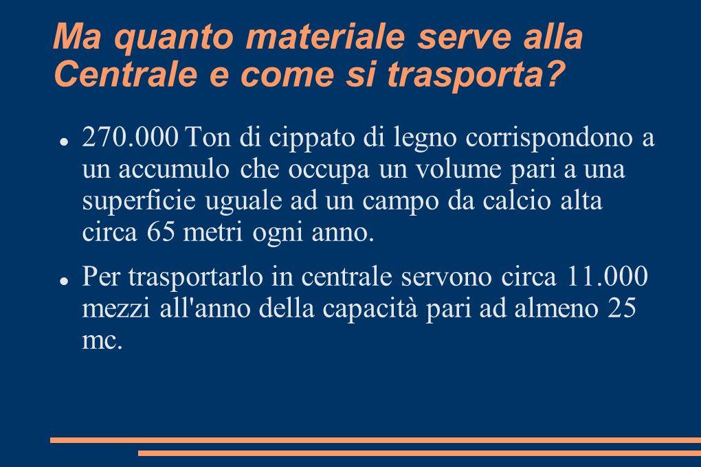 Ma quanto materiale serve alla Centrale e come si trasporta.