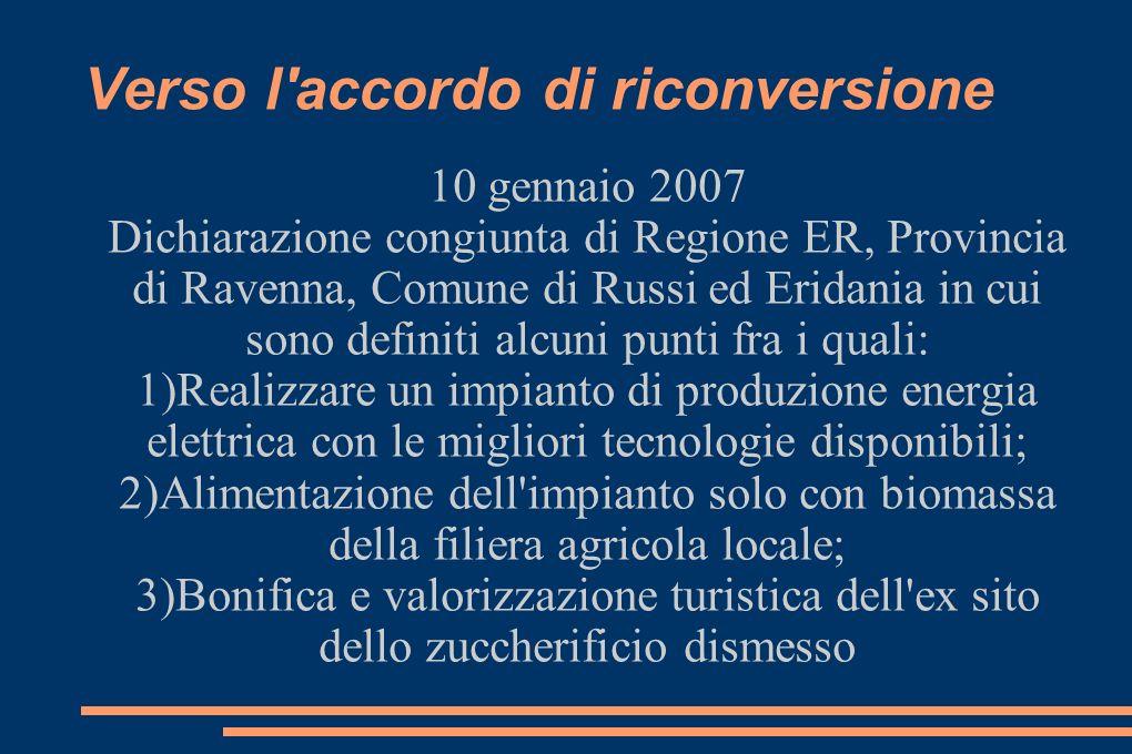 Verso l accordo di riconversione 18 settembre 2007 Verbale di incontro relativo alla sola parte economica fra proponente, CIA, Coldiretti, Copagri, Unione Prov.