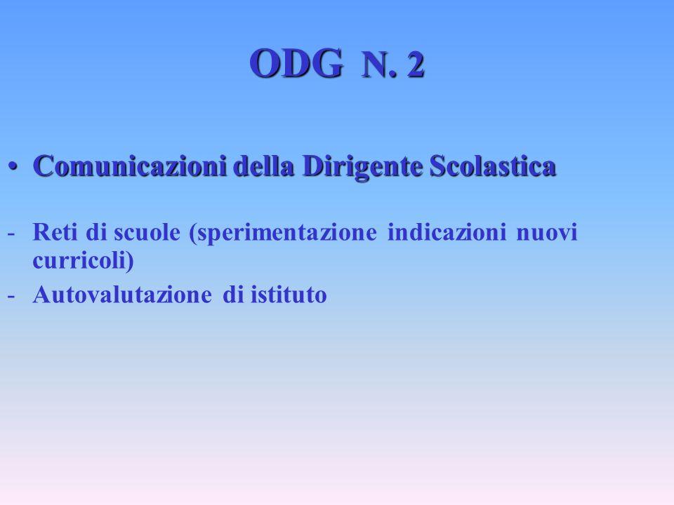 ODG N. 2 Comunicazioni della Dirigente ScolasticaComunicazioni della Dirigente Scolastica -Reti di scuole (sperimentazione indicazioni nuovi curricoli