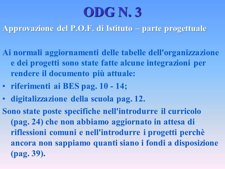 ODG N. 3 Approvazione del P.O.F. di Istituto – parte progettuale Ai normali aggiornamenti delle tabelle dell'organizzazione e dei progetti sono state