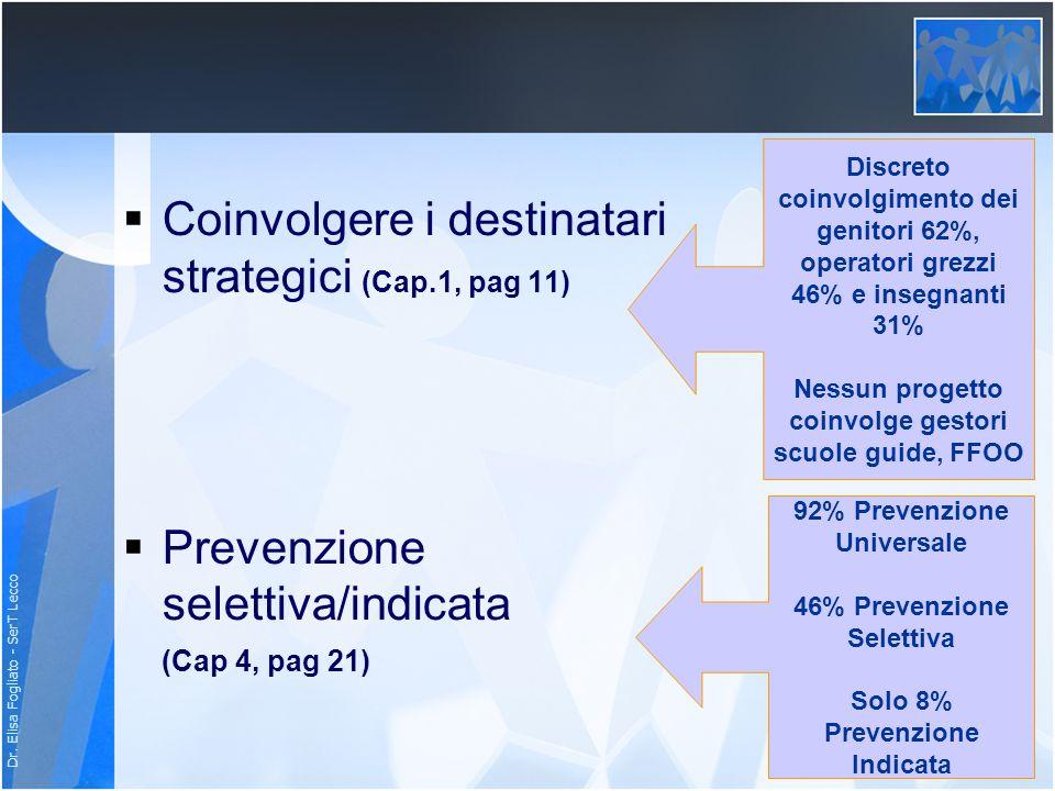 Dr. Elisa Fogliato - SerT Lecco Coinvolgere i destinatari strategici (Cap.1, pag 11) Prevenzione selettiva/indicata (Cap 4, pag 21) Discreto coinvolgi