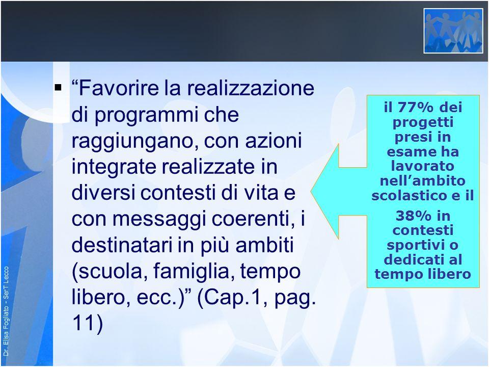 Dr. Elisa Fogliato - SerT Lecco Favorire la realizzazione di programmi che raggiungano, con azioni integrate realizzate in diversi contesti di vita e