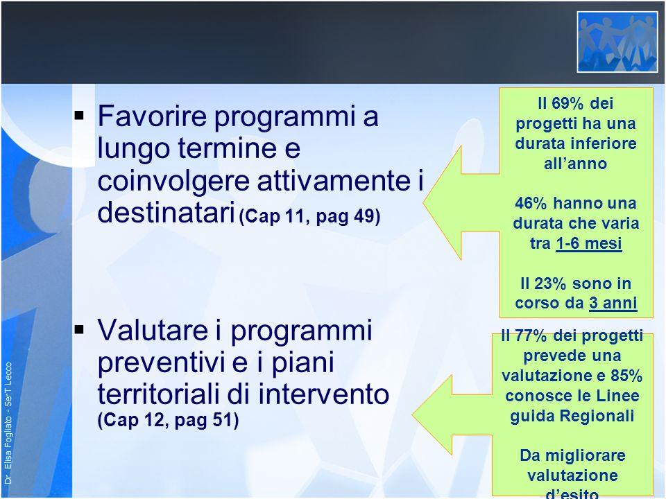 Dr. Elisa Fogliato - SerT Lecco Favorire programmi a lungo termine e coinvolgere attivamente i destinatari (Cap 11, pag 49) Valutare i programmi preve