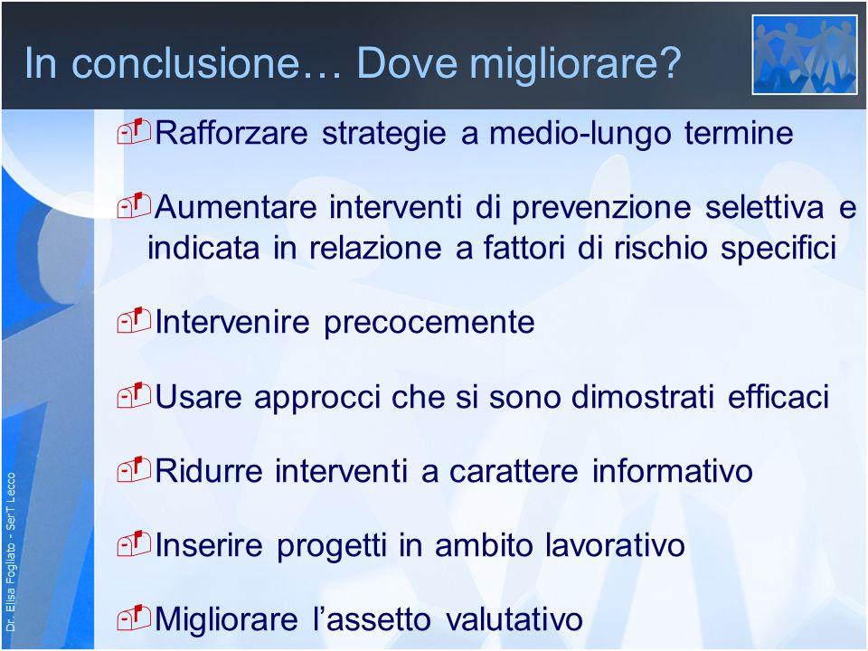 Dr. Elisa Fogliato - SerT Lecco In conclusione… Dove migliorare? Rafforzare strategie a medio-lungo termine Aumentare interventi di prevenzione selett