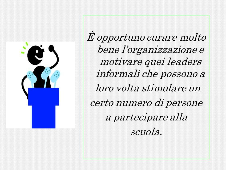 È opportuno curare molto bene lorganizzazione e motivare quei leaders informali che possono a loro volta stimolare un certo numero di persone a partec