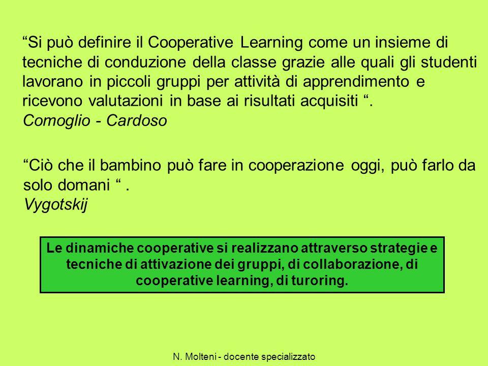 Si può definire il Cooperative Learning come un insieme di tecniche di conduzione della classe grazie alle quali gli studenti lavorano in piccoli grup
