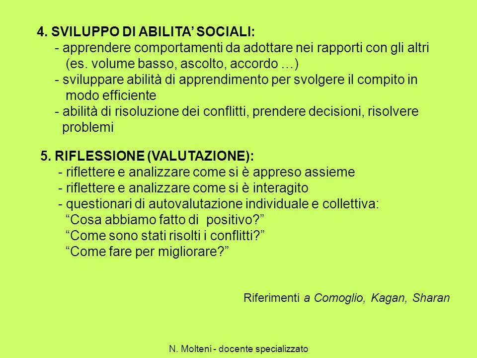 4. SVILUPPO DI ABILITA SOCIALI: - apprendere comportamenti da adottare nei rapporti con gli altri (es. volume basso, ascolto, accordo …) - sviluppare