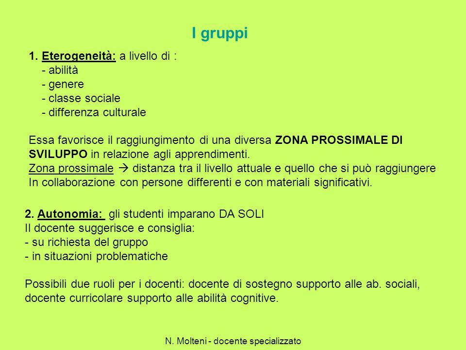 I gruppi 1. Eterogeneità: a livello di : - abilità - genere - classe sociale - differenza culturale Essa favorisce il raggiungimento di una diversa ZO