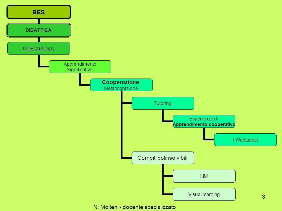 BES DIDATTICA INTEGRATIVA Apprendimento Significativo Cooperazione Metacognizione Tutoring Esperienze di Apprendimento cooperativo I WebQuest Compiti