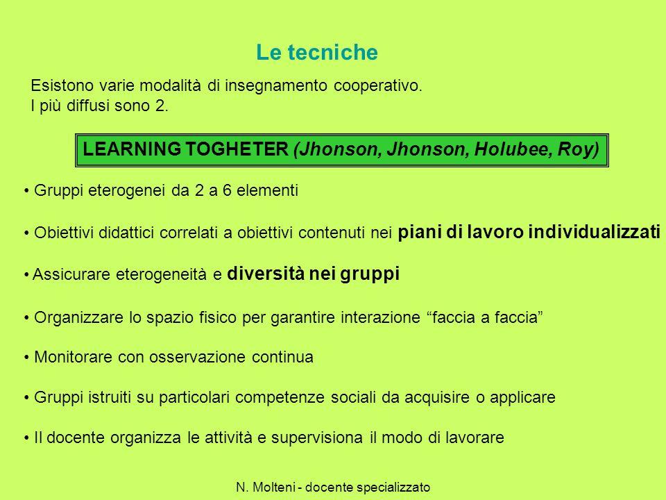 Le tecniche Esistono varie modalità di insegnamento cooperativo. I più diffusi sono 2. LEARNING TOGHETER (Jhonson, Jhonson, Holubee, Roy) Gruppi etero