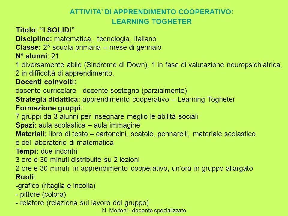 ATTIVITA DI APPRENDIMENTO COOPERATIVO: LEARNING TOGHETER Titolo: I SOLIDI Discipline: matematica, tecnologia, italiano Classe: 2^ scuola primaria – me