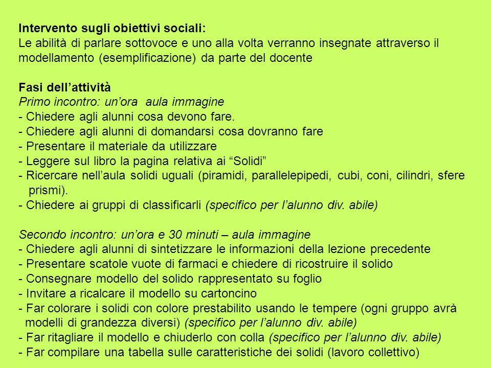 Intervento sugli obiettivi sociali: Le abilità di parlare sottovoce e uno alla volta verranno insegnate attraverso il modellamento (esemplificazione)