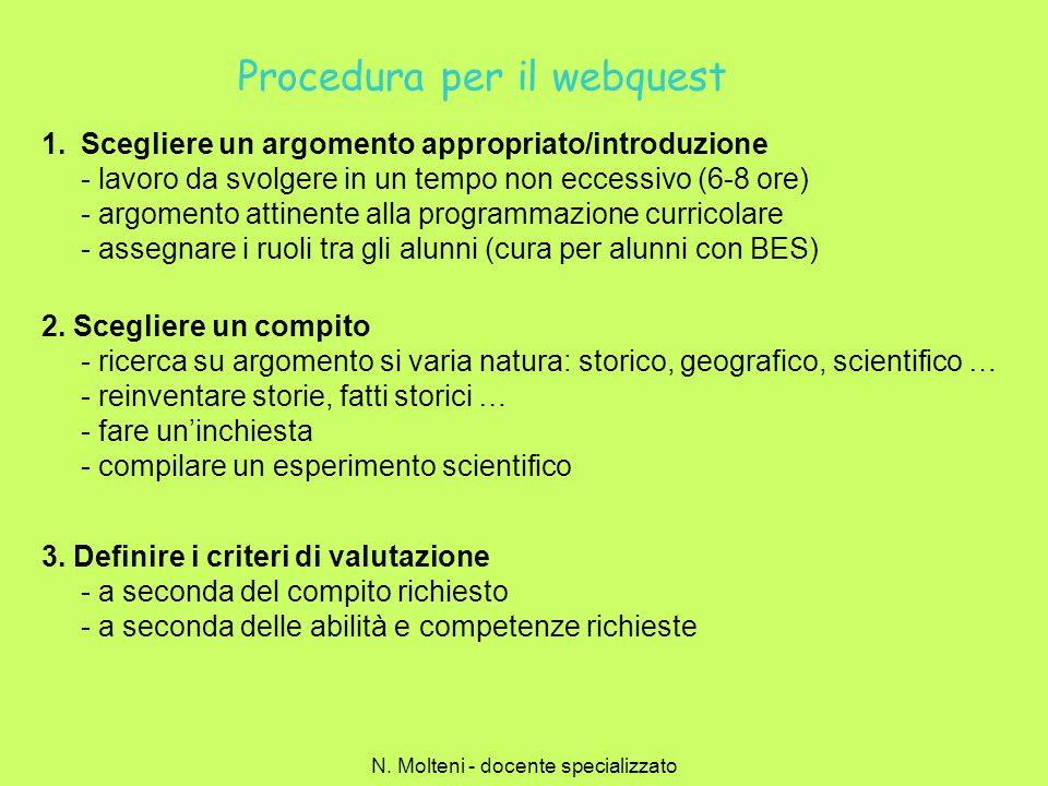 Procedura per il webquest 1.Scegliere un argomento appropriato/introduzione - lavoro da svolgere in un tempo non eccessivo (6-8 ore) - argomento attin