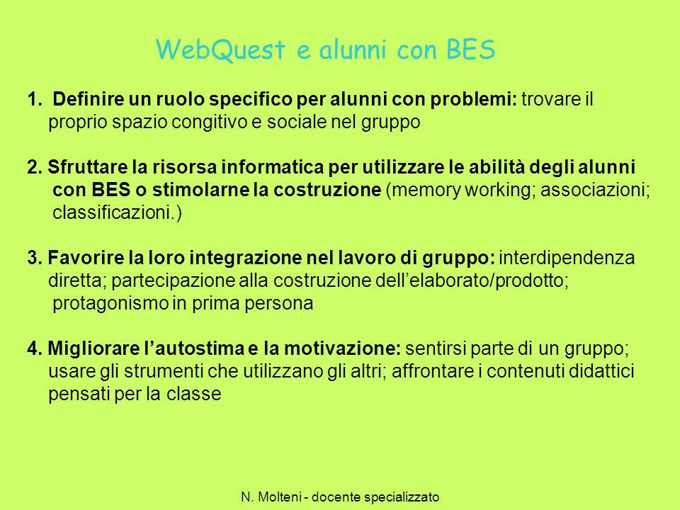 WebQuest e alunni con BES 1.Definire un ruolo specifico per alunni con problemi: trovare il proprio spazio congitivo e sociale nel gruppo 2. Sfruttare