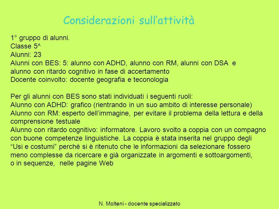 Considerazioni sullattività 1° gruppo di alunni. Classe 5^ Alunni: 23 Alunni con BES: 5: alunno con ADHD, alunno con RM, alunni con DSA e alunno con r