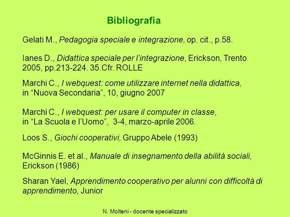 Bibliografia Loos S., Giochi cooperativi, Gruppo Abele (1993) McGinnis E. et al., Manuale di insegnamento della abilità sociali, Erickson (1986) Shara
