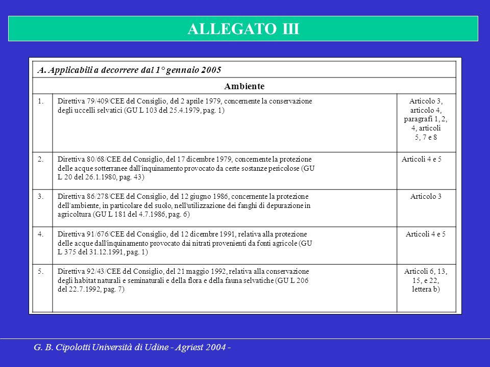 G. B. Cipolotti Università di Udine - Agriest 2004 - ALLEGATO III A.