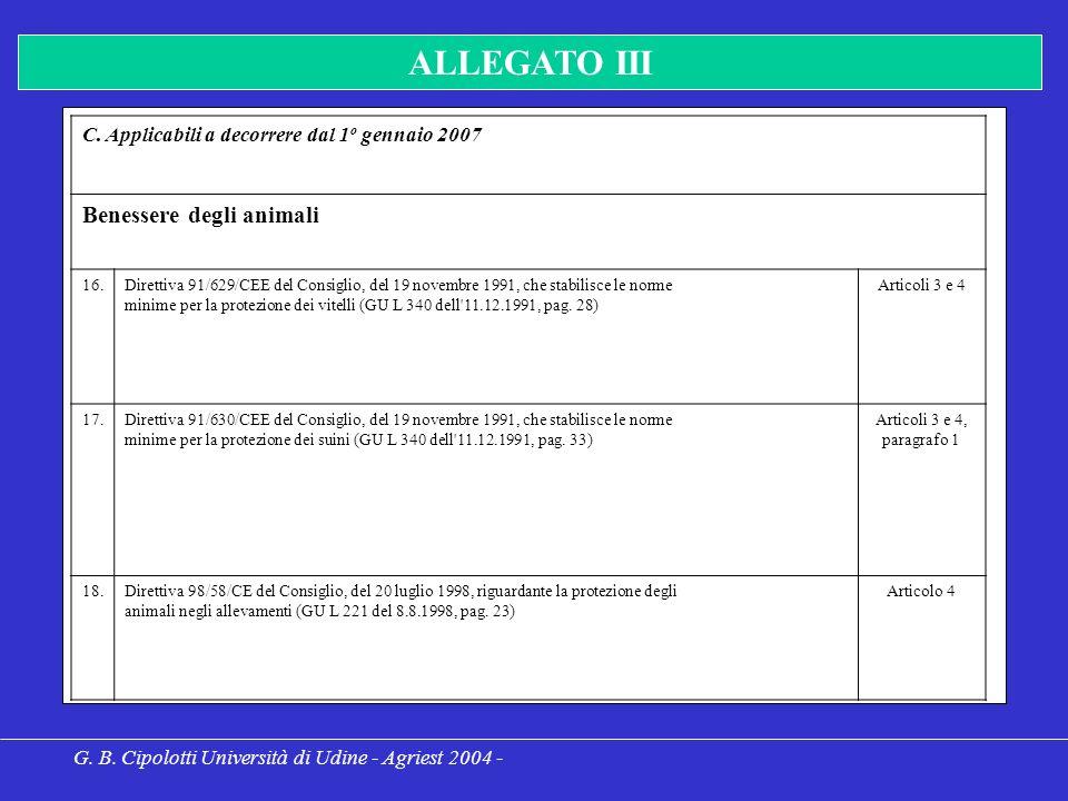 G. B. Cipolotti Università di Udine - Agriest 2004 - ALLEGATO III C.