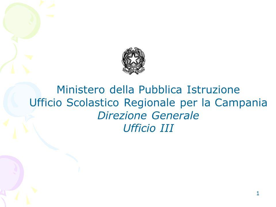 1 Ministero della Pubblica Istruzione Ufficio Scolastico Regionale per la Campania Direzione Generale Ufficio III
