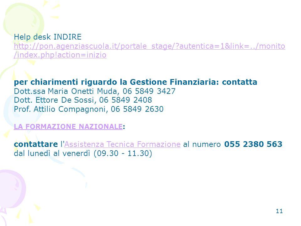 11 Help desk INDIRE http://pon.agenziascuola.it/portale_stage/?autentica=1&link=../monito /index.php!action=inizio per chiarimenti riguardo la Gestione Finanziaria: contatta Dott.ssa Maria Onetti Muda, 06 5849 3427 Dott.