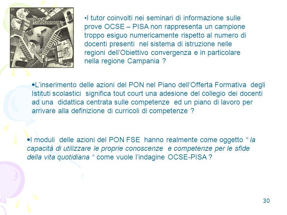 30 I tutor coinvolti nei seminari di informazione sulle prove OCSE – PISA non rappresenta un campione troppo esiguo numericamente rispetto al numero di docenti presenti nel sistema di istruzione nelle regioni dellObiettivo convergenza e in particolare nella regione Campania .