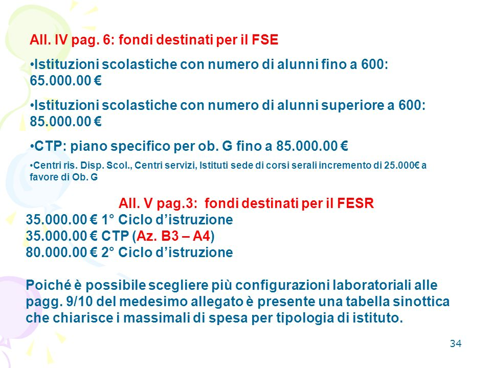 34 All.V pag.3: fondi destinati per il FESR 35.000.00 1° Ciclo distruzione 35.000.00 CTP (Az.