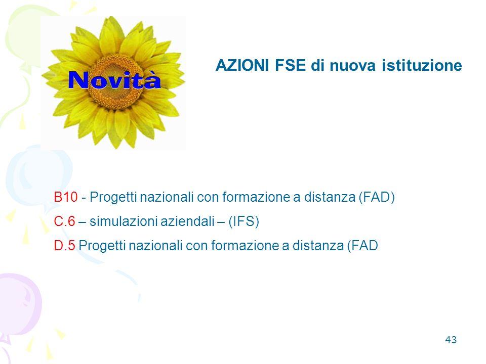 43 AZIONI FSE di nuova istituzione B10 - Progetti nazionali con formazione a distanza (FAD) C.6 – simulazioni aziendali – (IFS) D.5 Progetti nazionali con formazione a distanza (FAD