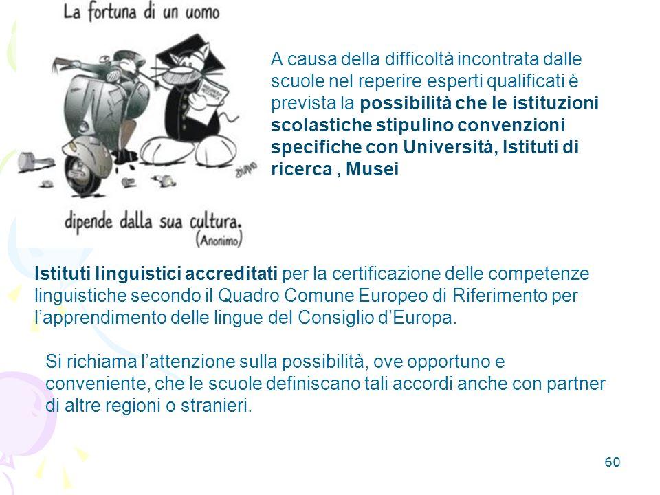 60 Istituti linguistici accreditati per la certificazione delle competenze linguistiche secondo il Quadro Comune Europeo di Riferimento per lapprendimento delle lingue del Consiglio dEuropa.
