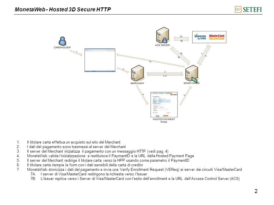 MonetaWeb - Hosted 3D Secure HTTP 3 8.Visa/MasterCard rispondono con una Verify Enrollment Response (VERes) 8A.MonetaWeb redirige il titolare carta verso lACS dellIssuer con la Payment Authentication Request (PAReq) 8B.LACS risponde con la Payment Authentication Response (PARes) 9.MonetaWeb invia in modalità server to server lesito del pagamento alla ResponseURL del Merchant 10.MonetaWeb legge la ResultURL e il PaymentID stampati a video dalla ResponseURL (vedi pag.