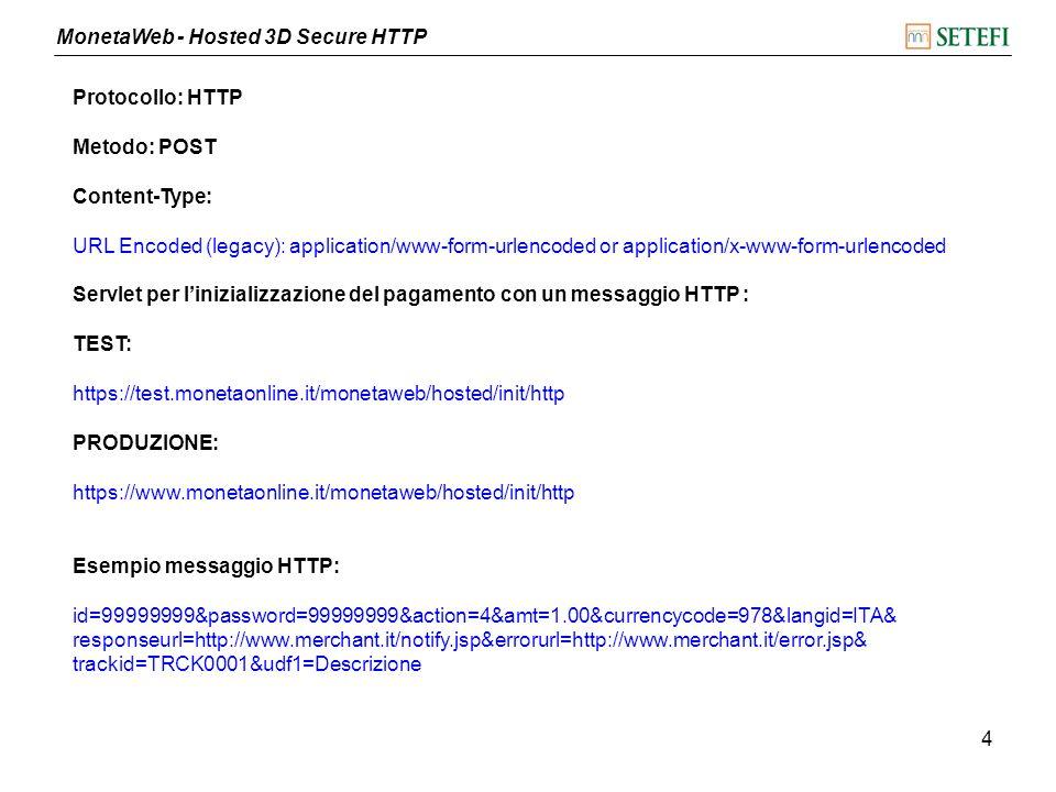 MonetaWeb - Hosted 3D Secure HTTP 5 Parametri di chiamata del messaggio HTTP: idId associato al terminale passwordPassword associata allid terminale action Fisso a 4 (richiesta autorizzazione) amt Importo della transazione (es: 1.00) con 2 decimali al massimo currencycode Fisso a 978 (valuta euro) langidLingua della pagina di pagamento (ITA, USA, SPA, FRA, DEU) responseurlPagina di ricezione della risposta (es: http://www.merchant.it/notify.jsp) errorurlPagina di errore (es: http://www.merchant.it/error.jsp) trackid Riferimento Operazione, alfanumerico obbligatorio lungo massimo18 caratteri (può contenere solo lettere e numeri e deve essere univoco in assoluto) udf1Descrizione del pagamento (opzionale) udf2Campo libero o utilizzabile per prepopolare i campi Titolare Carta e Email per conferma separando i due valori con il carattere punto e virgola (es.