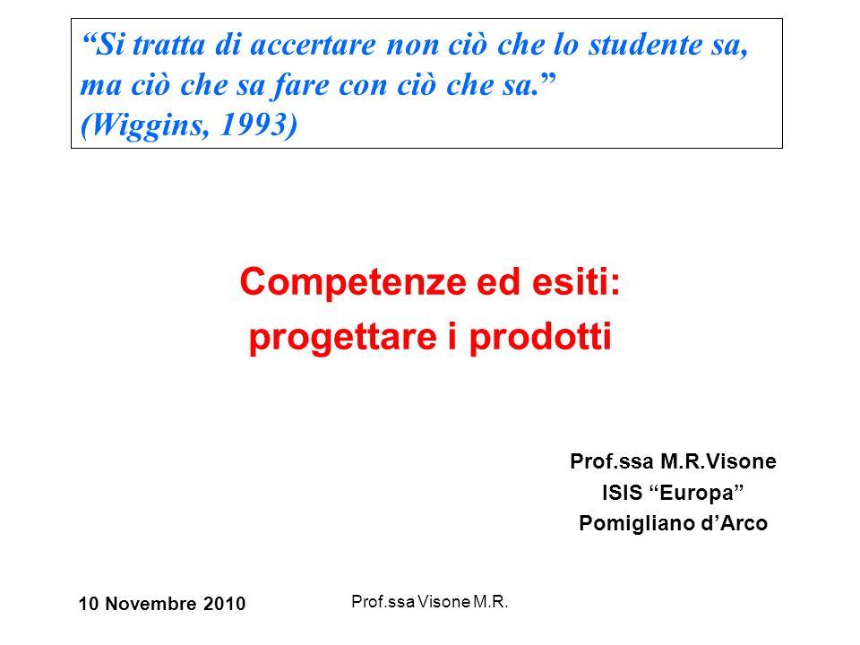 Prof.ssa Visone M.R. Competenze ed esiti: progettare i prodotti Prof.ssa M.R.Visone ISIS Europa Pomigliano dArco 10 Novembre 2010 Si tratta di accerta