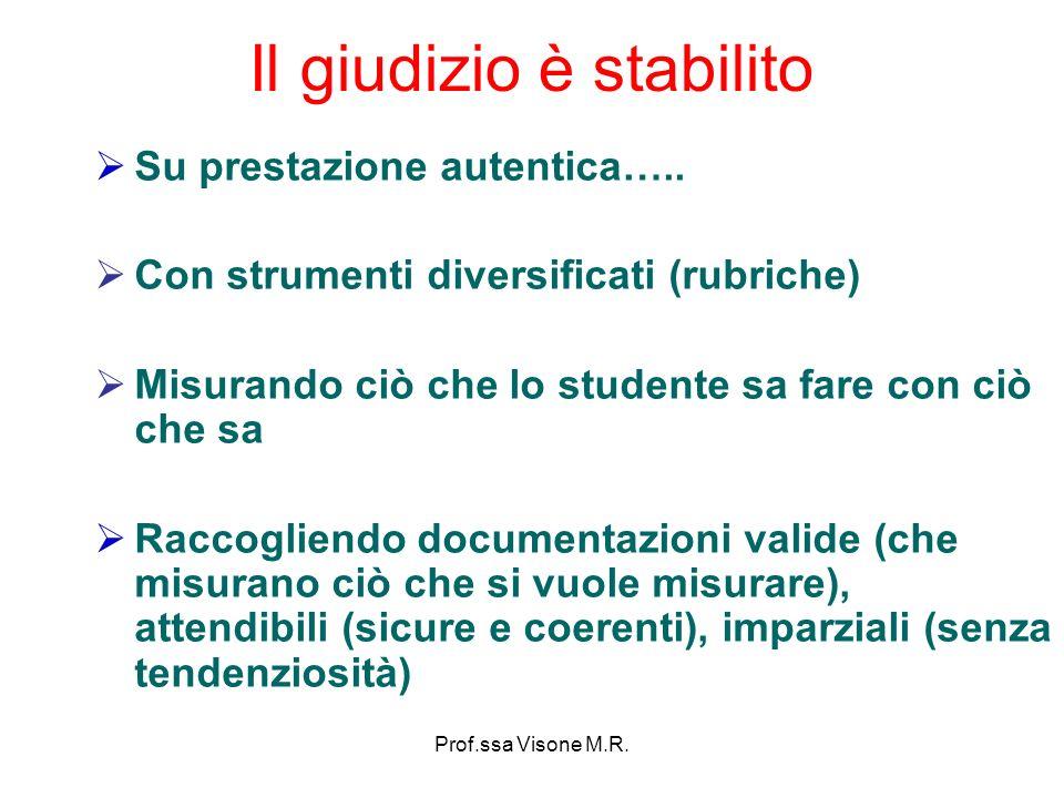 Prof.ssa Visone M.R. Il giudizio è stabilito Su prestazione autentica….. Con strumenti diversificati (rubriche) Misurando ciò che lo studente sa fare