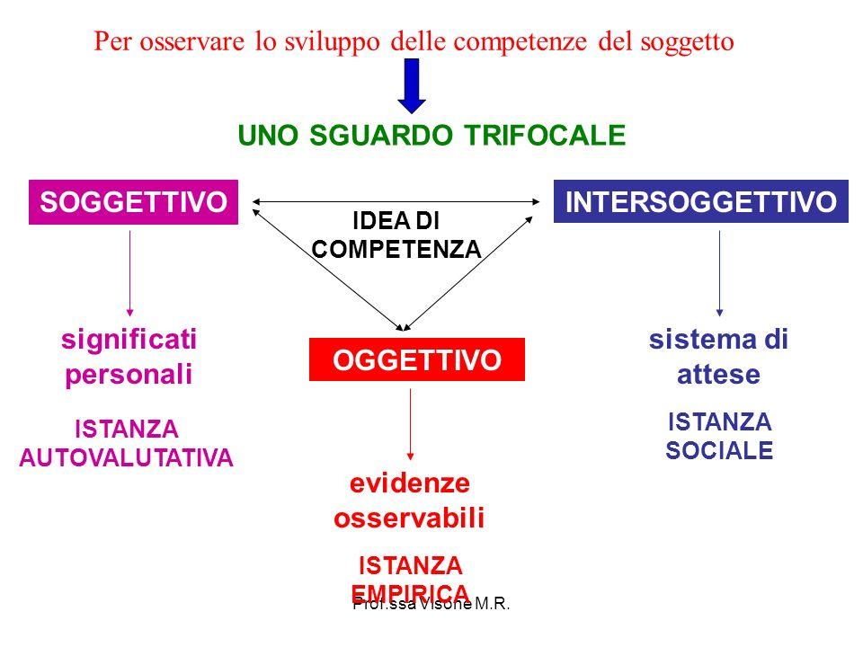 Prof.ssa Visone M.R. UNO SGUARDO TRIFOCALE SOGGETTIVO INTERSOGGETTIVO OGGETTIVO ISTANZA AUTOVALUTATIVA ISTANZA SOCIALE ISTANZA EMPIRICA significati pe