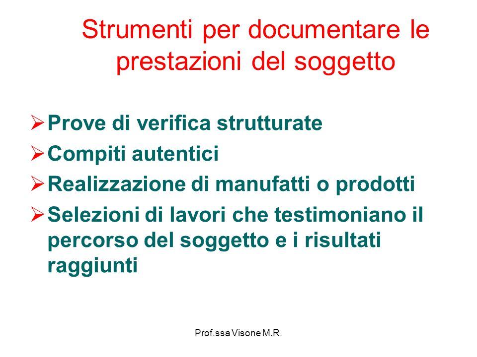 Prof.ssa Visone M.R. Strumenti per documentare le prestazioni del soggetto Prove di verifica strutturate Compiti autentici Realizzazione di manufatti
