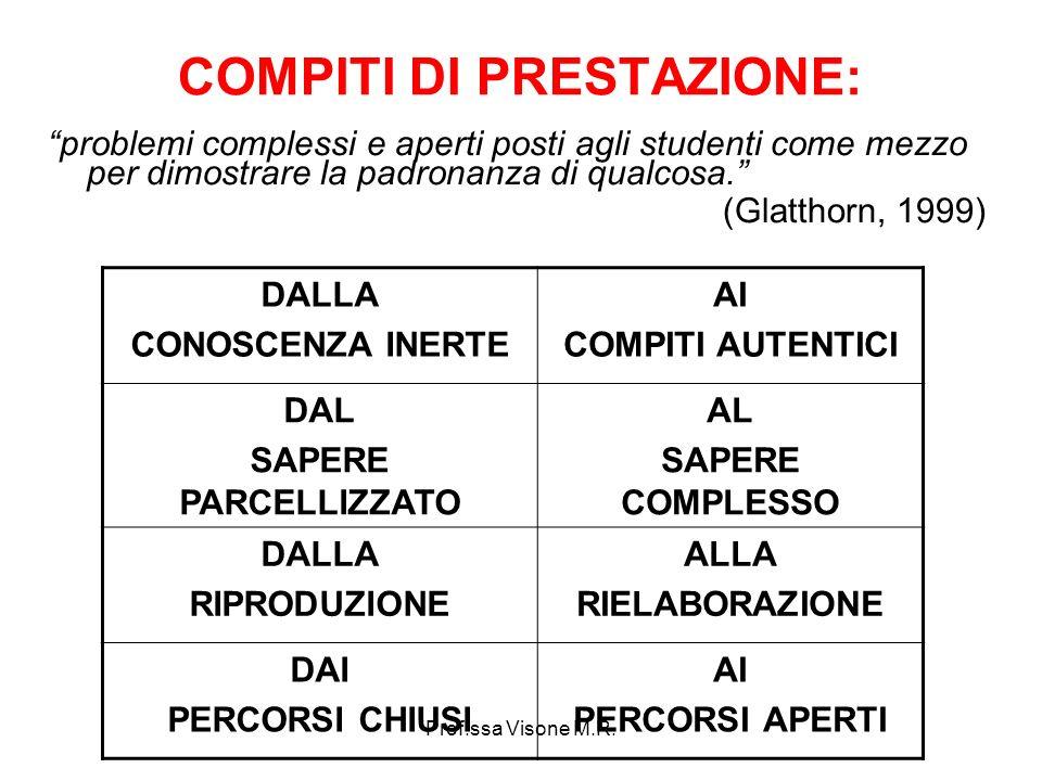 Prof.ssa Visone M.R. COMPITI DI PRESTAZIONE: problemi complessi e aperti posti agli studenti come mezzo per dimostrare la padronanza di qualcosa. (Gla