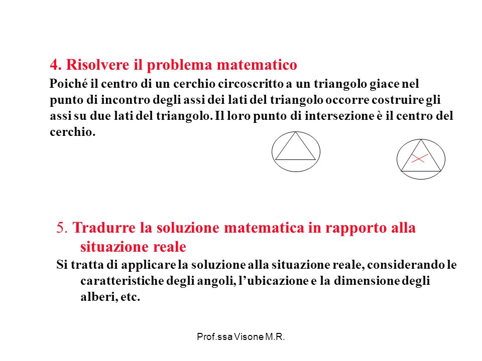 Prof.ssa Visone M.R. 5. Tradurre la soluzione matematica in rapporto alla situazione reale Si tratta di applicare la soluzione alla situazione reale,