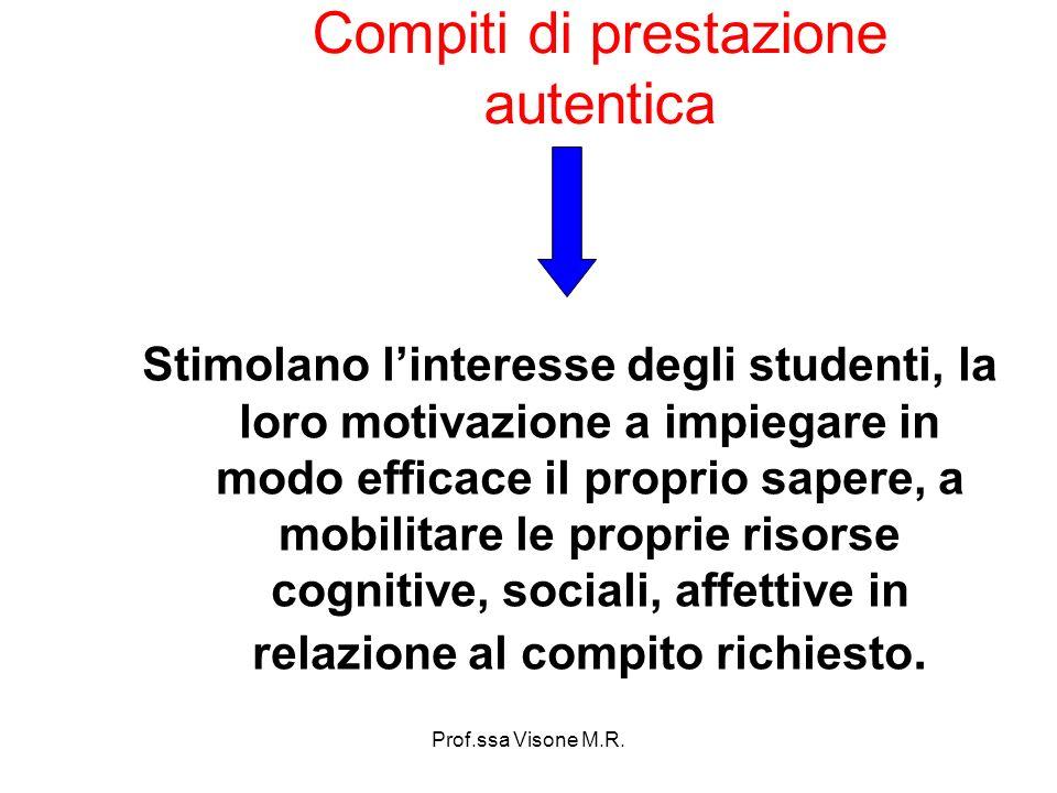 Prof.ssa Visone M.R. Compiti di prestazione autentica Stimolano linteresse degli studenti, la loro motivazione a impiegare in modo efficace il proprio
