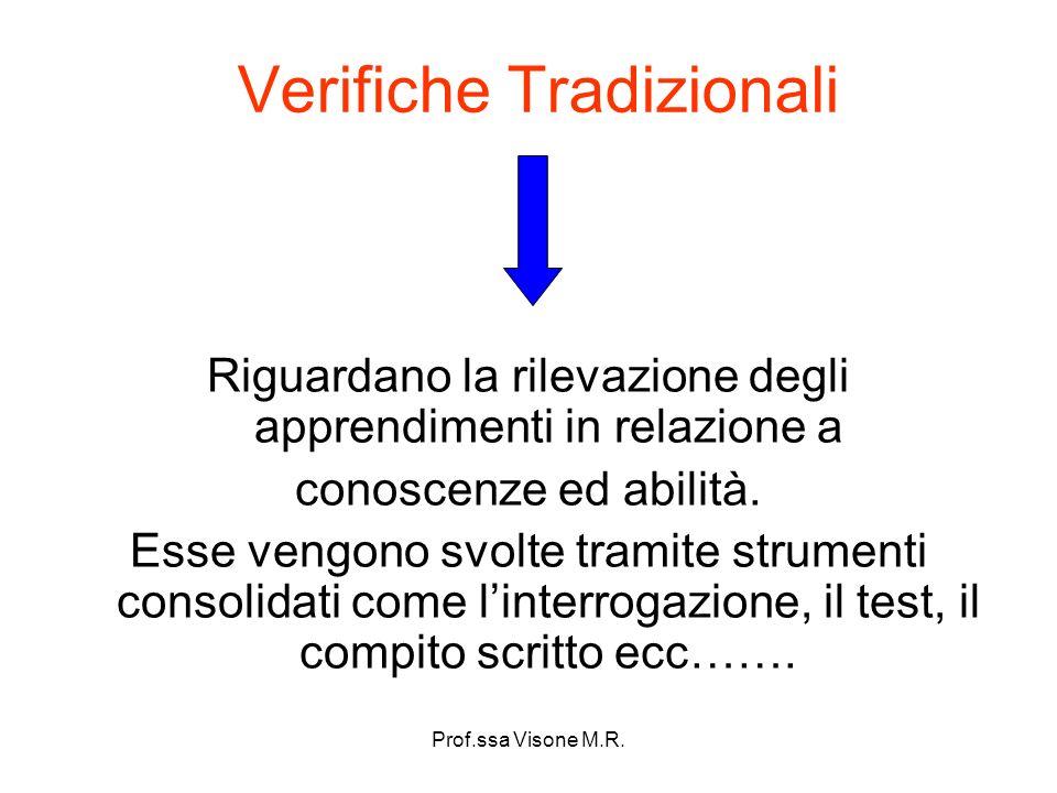 Prof.ssa Visone M.R. Verifiche Tradizionali Riguardano la rilevazione degli apprendimenti in relazione a conoscenze ed abilità. Esse vengono svolte tr