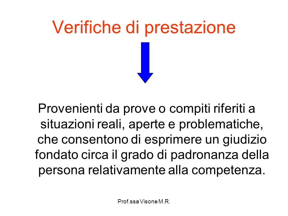 Prof.ssa Visone M.R. Verifiche di prestazione Provenienti da prove o compiti riferiti a situazioni reali, aperte e problematiche, che consentono di es