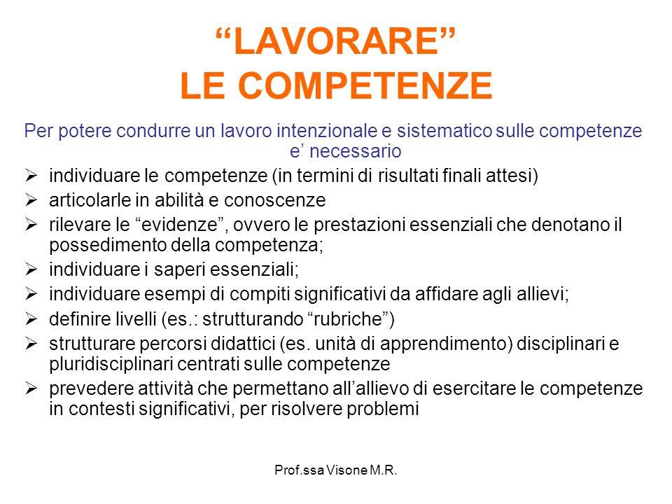 Prof.ssa Visone M.R. LAVORARE LE COMPETENZE Per potere condurre un lavoro intenzionale e sistematico sulle competenze e necessario individuare le comp